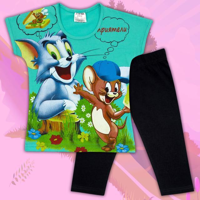 Комбинация блузка и клин Том и Джери в мента