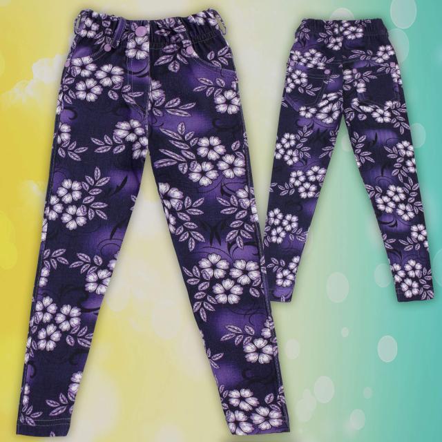 Клин панталон с дънков ефект в лилаво