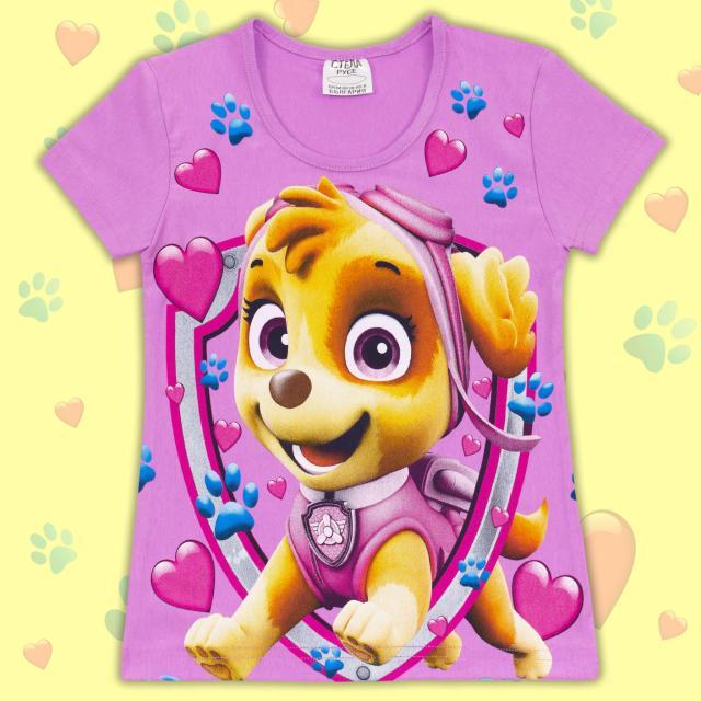 Блуза с къс ръкав Кучета в лилаво
