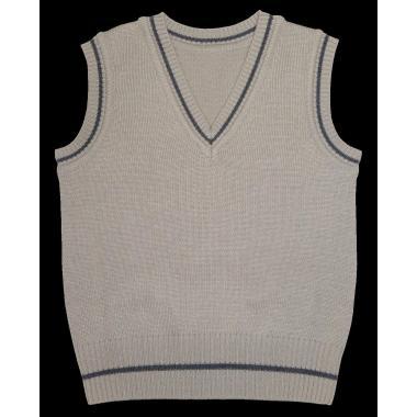 Пуловер без ръкав цвят мляко с какао
