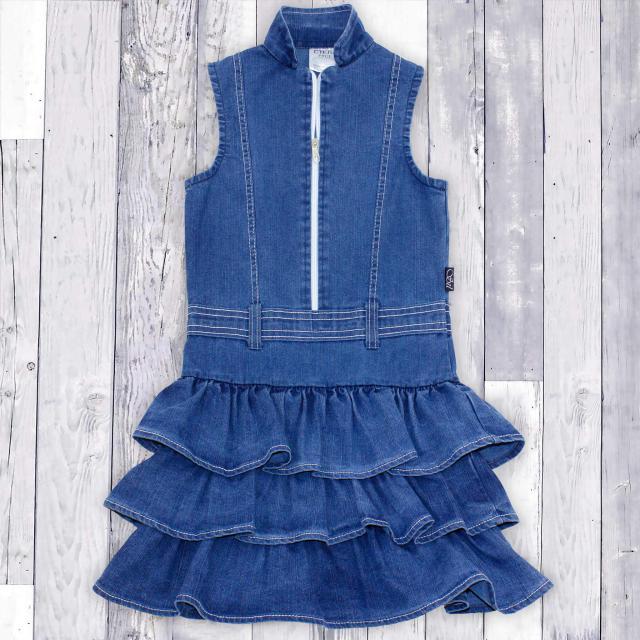 Дънкова рокля с цип в синьо 1