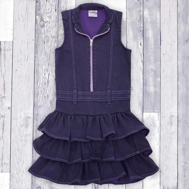 Дънкова рокля с цип в лилаво 1