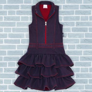 Дънкова рокля с цип в червено 1