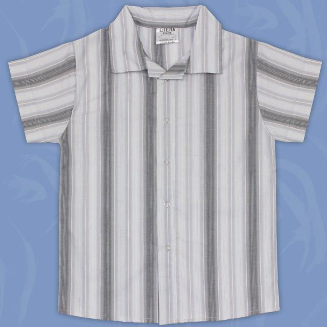 Риза спортно-елегантна райе в сиво