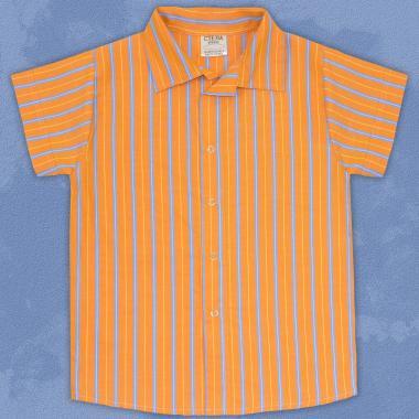 Риза спортно-елегантна райе в оранжево